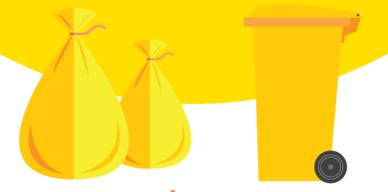 Bac et sac jaune de tri.