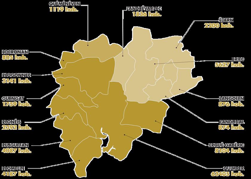 Carte Bretagne Quimper.Les Communes De La Communaute D Agglomeration De Quimper